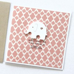 Baby Card, Personalised. Baby Girl Card, Granddaughter Baby Card, Newborn