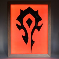 World of Warcraft Horde Flag 3D wax painting led light box