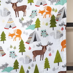 Baby Blanket - Woodland Animals - Cotton and Flannel