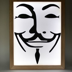 Guy Fawkes Mask V for Vendetta led light box wax painting
