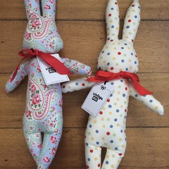 Cotton Bunny Softie with Red Bow