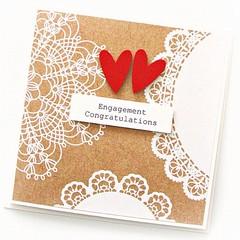 Handmade Engagement Card, Vintage, Rustic, Bride and Groom Card