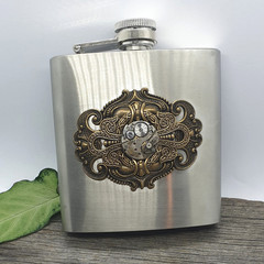 Steampunk Hip Flask - with free funnel and velvet hipflask pouch