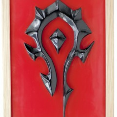 World of Warcraft WOW Horde Emblem Symbol 3D wax painting led light box