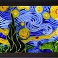Vincent Van Gogh Starry Night 3D Wax Painting Light Box