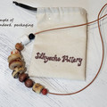 Necklace - Raw Talent - Pottery and hand-carved wood.
