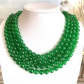 Genuine Translucent Deep Green JADE JADEITE I(8 mm) Four-Strands Necklace