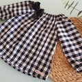 Girls Black and White Gingham Peasant Top Size 6