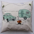 Cushion cover - Ute and retro caravan - one of a kind