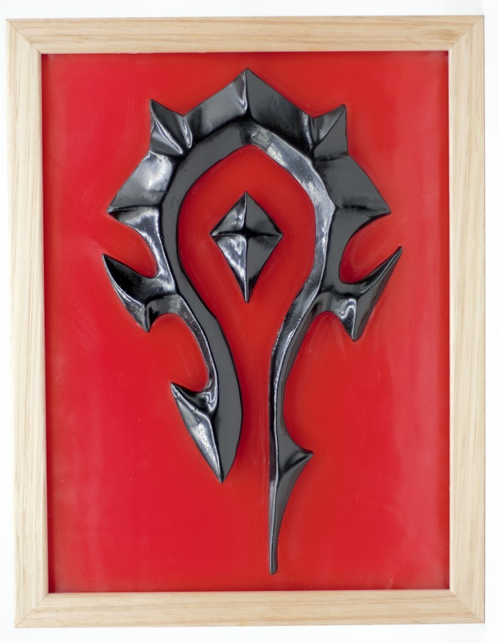 World Of Warcraft Wow Horde Emblem Symbol 3d Wax Painting Led Light Box Unique Wax Works On Madeit