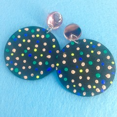 Handpainted  peach/yellow/green/blue/black earrings