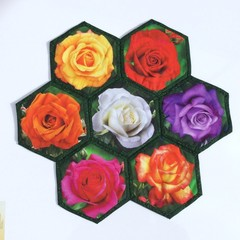 Rose Garden Hand-pieced  Hexagon Table Centre
