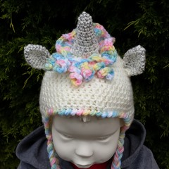 Unicorn earflap hat, beanie. Cream, pinks, or variegated.  Child 18mth to 3yr