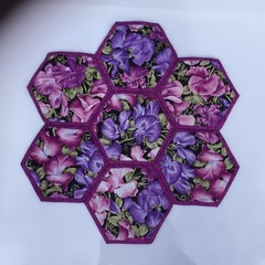 Sweet Pea Hand-pieced  Hexagon Table Centre