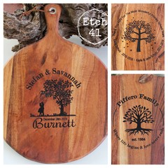 Personalised Etched Timber Acacia Boards - Tree image
