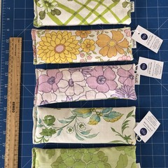 Set of 5 - Bulk Lot Vintage Fabric Eye Pillows with Brown Rice and Organic Lave