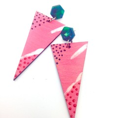 Handpainted triangle pink/white/black/red earrings