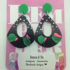 Handpainted black/white/green/pink earrings