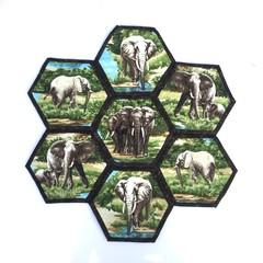 Elephants Hand-pieced  Hexagon Table Centre