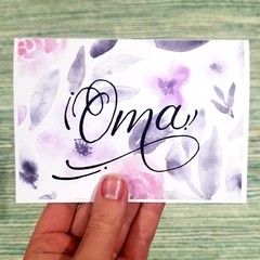 Oma Florals Card A6 - Calligraphy and Watercolour Print
