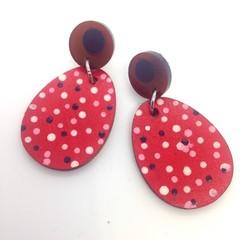 Handpainted egg  pink/white/red/black earrings