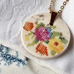 Vintage Cross Stitch Pendant