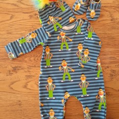 BERT 3PCE BABY  SET  ROMPER, ONSIE HAT & SHOES  NB