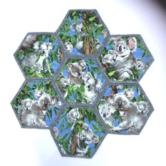 Koala  Hand-pieced  Hexagon Table Centre