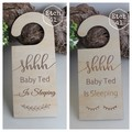 Personalised Baby Sleeping Door Sign