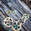 Steampunk Funk - ooak industrial necklace and earrings set