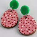 Handpainted egg  pink/white/red earrings