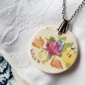 Vintage Cross Stitch Pendant