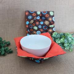 Bowl Cosies- Brown Retro Garden  with Orange