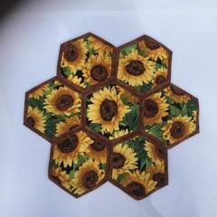 Sunflowers Hand-pieced  Hexagon Table Centre