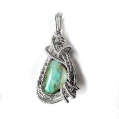 Australian Boulder green opal pendant, sterling silver wire weave wrapped