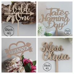 Personalised Raw Timber Cake Toppers