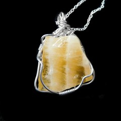 Yellow Calcite pendant Sterling silver wire wrapped