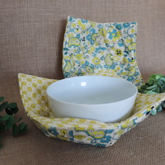 Bowl Cosies-  Lime and Blue Paisley