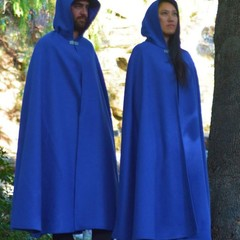Medium Length Bright Blue Wool Blend Cloak