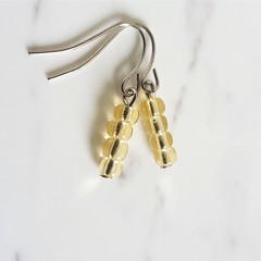 Glass seed bead short drop earrings , Beige , Minimal Simple Chic Boho Retro