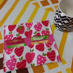 Handy Tea Bag Wallet-Modern strawberry print
