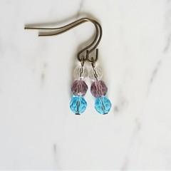 Short glass bead drop earrings , Clear Purple Sky blue mix , Hippie Retro Boho