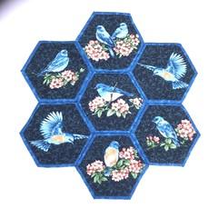 Bluebirds Hand-pieced  Hexagon Table Centre
