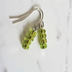 Glass seed bead short drop earrings , Yellow green , Bohemian Woodland Hippie