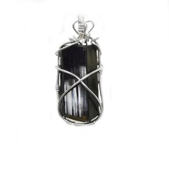 Black Tourmaline pendant, natural crystal, sterling wire wrapped