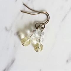 Short glass bead drop earrings , Silver Clear Beige mix , Art nouveau Retro Boho