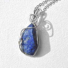 Rough Lapis Lazuli pendant sterling wire wrapped pendant