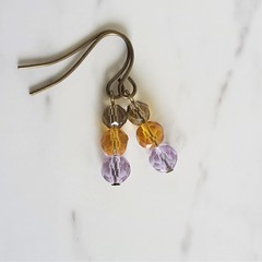 Short glass bead drop earrings , Gray Brown Purple mix , Boho Hippie Woodland