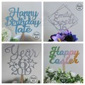 Personalised Timber Cake Toppers Colour Coated
