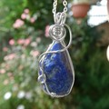 Rough Lapis Lazuli pendant sterling wire wrapped pendant